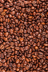 Grains of roasted coffee as a background