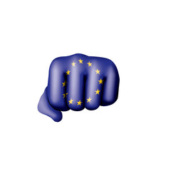 European union flag and hand on white background. Vector illustration
