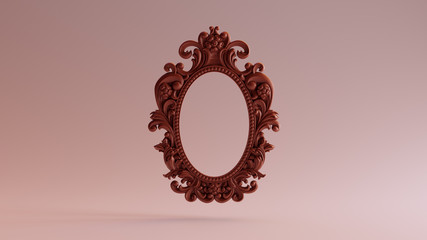 Chocolate Clay Antique Ellipse Silver Baroque Frame 3d illustration 3d render