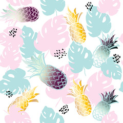 Seamless exotic pattern with pineapple palm leaves on white background. Tropical monstera leaves illustration. Fashion design. print fabric textile, wallpaper, wrapping paper. hand drawing, contour.