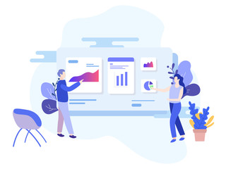 People hold business analysis meetings, discussion vector illustration concept can use for a landing page, template, UI, web, mobile applications, posters, banners, leaflets