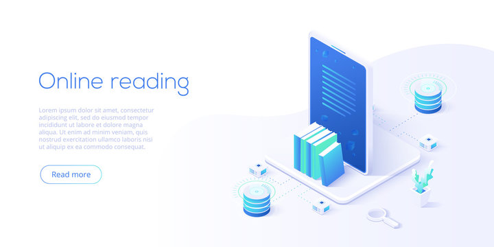 Online library or ebook concept vector illustration in isometric design. Internet education or  distance training and learning courses on educational platform. Website banner layout template.