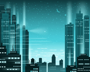 Cityscape metropolis night lights of a big city, illuminated neon, skyscrapers, downtown, skyline, silhouettes of buildings. Vector, illustration, isolated, background, template, banner
