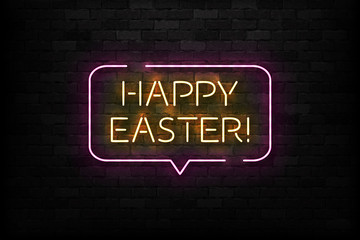 Vector realistic isolated neon sign of Happy Easter logo for template decoration and covering on the wall background.