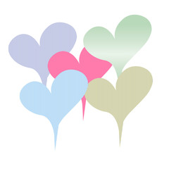 Vector drawing with pastel colour hearts