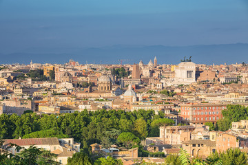 Fotomurales - Aerial panoramic view of historic center of Rome, Italy