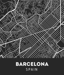 city map of Barcelona with well organized separated layers.