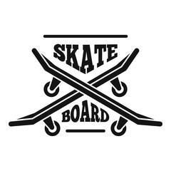 Hipster skateboard logo. Simple illustration of hipster skateboard vector logo for web design isolated on white background
