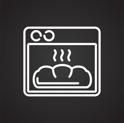 Bakery oven outline icon black background for graphic and web design, Modern simple vector sign. Internet concept. Trendy symbol for website design web button or mobile app
