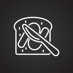 Pastry breakfast outline icon black background for graphic and web design, Modern simple vector sign. Internet concept. Trendy symbol for website design web button or mobile app
