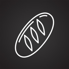Bread outline icon black background for graphic and web design, Modern simple vector sign. Internet concept. Trendy symbol for website design web button or mobile app