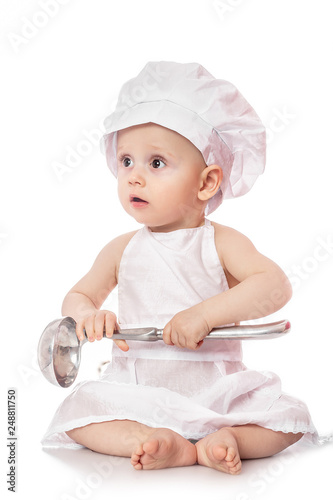 Infant cook baby portrait wearing apron and chef hat with metal ladle 7b74567ed1db