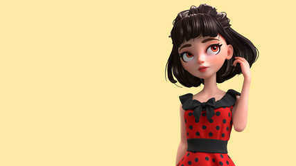 3d cartoon character of a brunette retro girl with big brown eyes. Closeup of a beautiful cute cartoon fashion valentines girl in red dress with black polka dots. 3D rendering on yellow background.