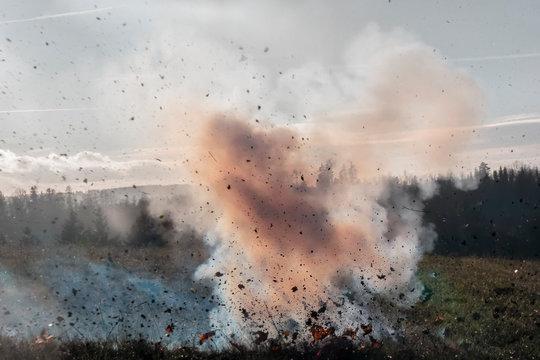 Ground cloud explosion