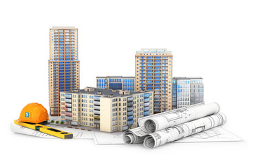 Architecture. High-rise buildings on the drawings, isolated on white background. 3d illustration