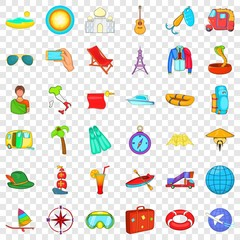 Globe travel icons set. Cartoon style of 36 globe travel vector icons for web for any design