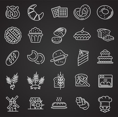 Bakery outline icons set on black background for graphic and web design, Modern simple vector sign. Internet concept. Trendy symbol for website design web button or mobile app