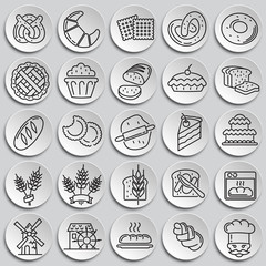 Bakery outline icons set on plates background for graphic and web design, Modern simple vector sign. Internet concept. Trendy symbol for website design web button or mobile app