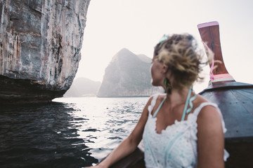 Beautiful woman making an excursion to phi phi island in Thailand