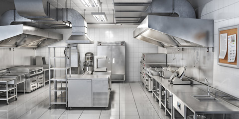 Industrial kitchen. Restaurant kitchen. 3d illustration Fototapete