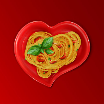 Presentation of pasta. Spaghetti on a red heart-shaped plate with red cherry tomatoes and green basil leaves. 3d realistic vector illustration isolated on red background.