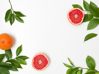 fresh, juicy grapefruit with green twigs lying on a white background