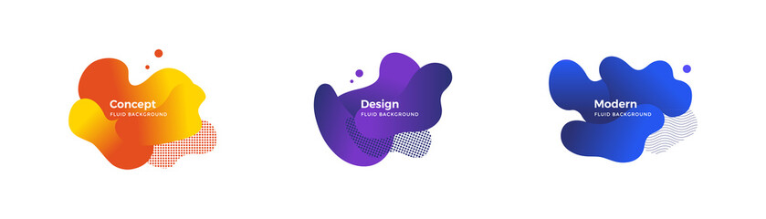 Fluid and liquid shapes. Trendy design templates.