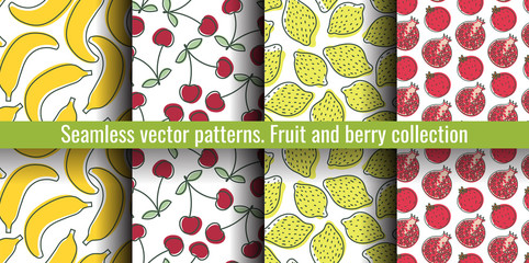 Seamless pattern set. Juicy fruit and berry collection. Banana, cherry, lemon, garnet. Hand drawn color vector sketch background. Colorful doodle wallpaper. Summer print