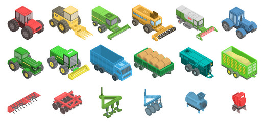 Agricultural machines icons set. Isometric set of agricultural machines vector icons for web design isolated on white background