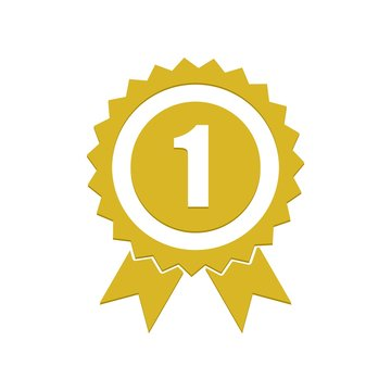 Number 1 winner ribbon award badge, Gold medal