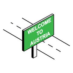 roadside Billboard that says Welcome to AUSTRIA
