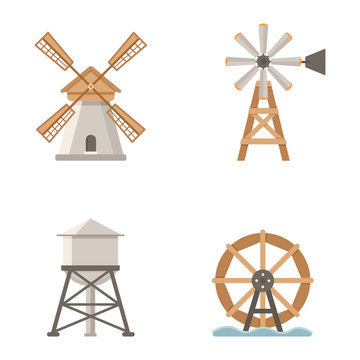 Set of vector icons mills and water tower. Buildings on the farm