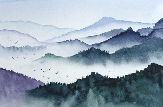 Mountains black and white watercolor