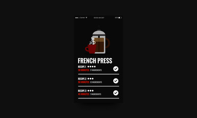 French Press App interface Design