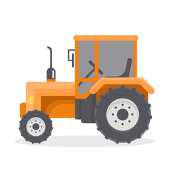 Vector flat illustration of tractors. Agricultural machinery. Orange cab tractor.
