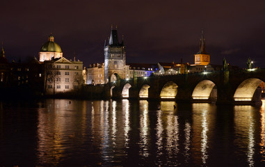 View to the Charles Bridge, Prague, Czech Republic by Night