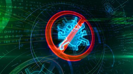 Antivirus symbol on cyber background