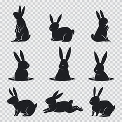 Rabbit black silhouette. Vector cartoon bunny set isolated on transparent background.