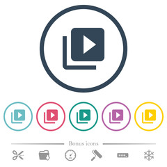Video library flat color icons in round outlines
