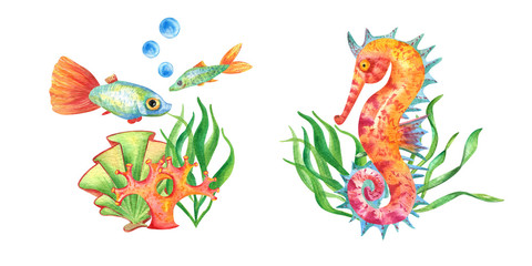 Two watercolor undersea composition in retro style. Underwater kit with fishes, seahorse, seaweed and coral in green, gold, blue, red, purple and living coral colors