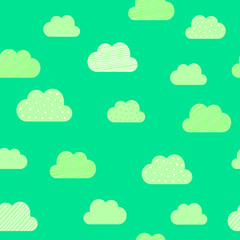 Clouds cartoon pattern background. Vector kid birthday greeting card, cloud pattern on green background