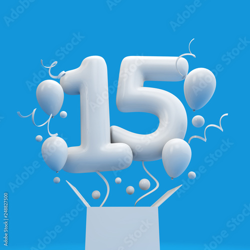 Happy 15th Birthday Surprise Balloon And Box 3D Rendering