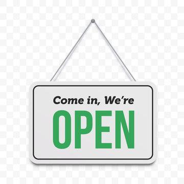 Open door sign. Vector We are open hanging signboard