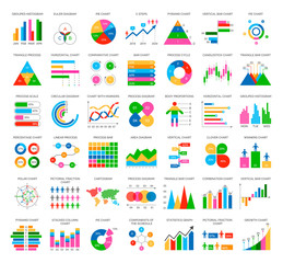 Analytics statistics icons in flat style isolated on white. Signboard and chart, statistics and scatter, circle diagram, target and achievement vector