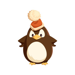 Angry penguin in Santa hat, isolated character. Arctic bird with furious face expression vector. Christmas holiday, wild animal and headdress with bubo.