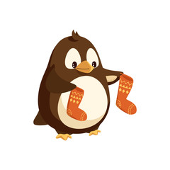 Penguin cartoon character with socks in wings vector isolated on white North Pole bird with Santa stockings, New Year and Christmas animal, cartoon style