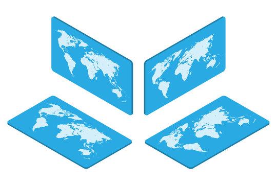 Isometric world map Earth isolated