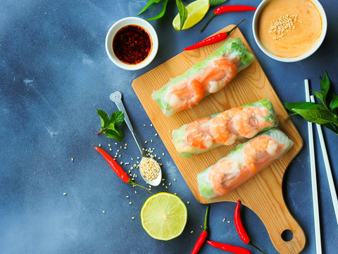 Fresh summer rolls with shrimp and vetgetables,Vietnamese food in top view with copy space.