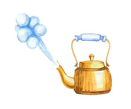 hand-drawn watercolor copper vintage teapot