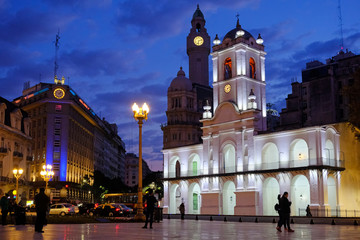 Buenos Aires Cabildo, the old town council, by night, Plaza De Mayo, main city square in Buenos Aires, Argentina